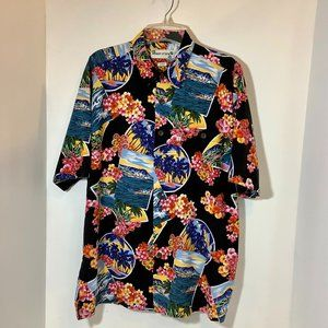 Floral Tropical Button Shirt Short Sleeve Large